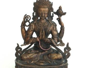 Four-armed Avalokiteshvara - Simple bronze Buddha statue