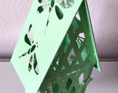 Vintage Green Metal Birdhouse Candle Holder - 4evrVintage