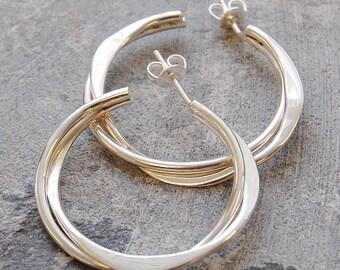 Hoop Earrings - Sterling Silver Hoops - Silver Earrings - Silver Hoop Earrings - Retro Earrings - Classic Earrings - Simple Hoop Earrings