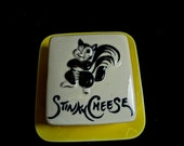 Vintage Ceramic Dish, Labeled Stinky Cheese Dish, Illustrated Skunk, Pottery Ceramic Funny Cute Vintage Ceramic Pottery Dish