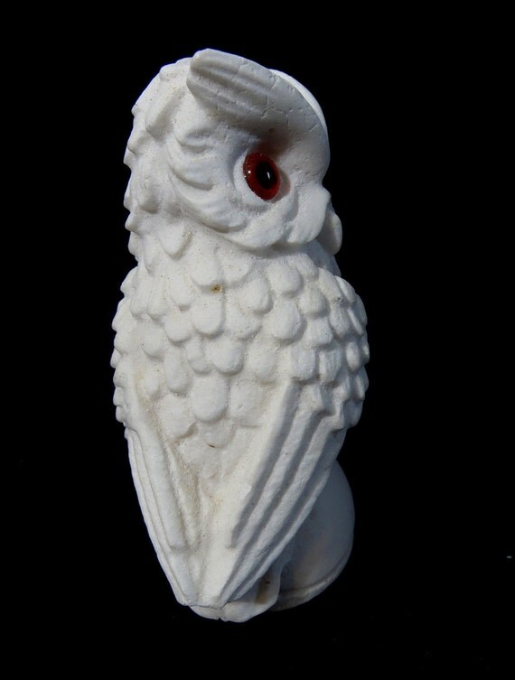 Vintage White Ceramic Owl Figurine With Red By