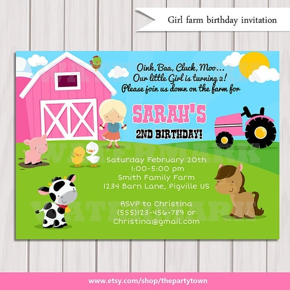 Girls Farm birthday invitation / Girls Barn Animals / Pig ...