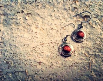 Vintage brown goldstone earrings-vintage brown earrings-vintage sterling silver earrings-vintage earrings