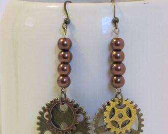 Gears and Copper Pearl Dangle Earrings