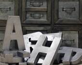 "Industrial Zinc Faux Metal Letters - 8"" or 12"""