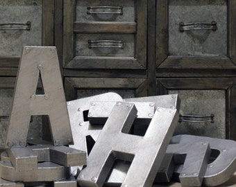 "Industrial Zinc Faux Metal Letters and Numbers - 8"" or 12"""