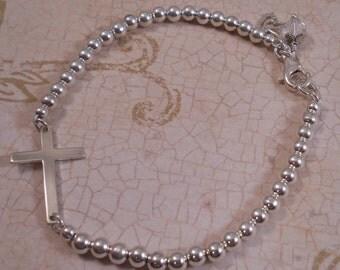 Sterling Silver Sideways Cross Bracelet