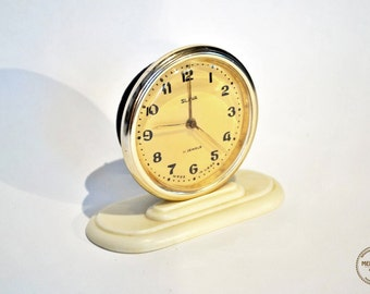Art Deco Style Vintage Russian Mechanical Alarm Clock Slava from Soviet Union  - 11 Jewels