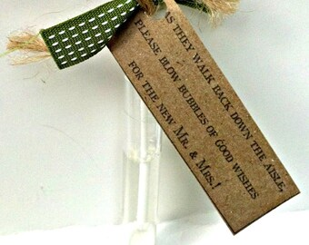 Rustic Wedding Bubble Tags- Blow Bubbles of Good Wishes- Kraft Paper- Wedding Favor
