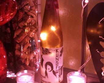 Kung Fu Girl Decorative Wine Bottle Light