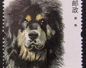 Tibetan Mastiff Dog China -Handmade Postage Stamp Art 0910
