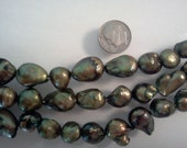 Cultured Freshwater Pearl Beads Olive Olivine Baroque 11x12-16mm 7 inch Strand S2919