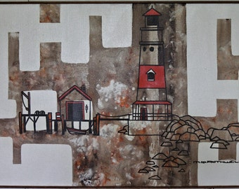 Vintage Orig Lighthouse Painting / Oil & Acrylic on Canvas by M. Q. Rothwell / Contemp Nautical Theme / Artist-signed