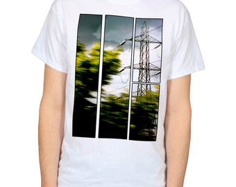 Wires, Trees & Pylons Tshirt, View from the Train Window Graphic Tee, Urban Photography Photo Art Shirt