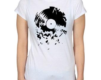 Broken Vinyl Record T-Shirt, Music Gift, Gramophone Phonograph Disc Record Shirt, Nostalgia Tshirt, LP DJ Shirt, Retro Graphic Tee