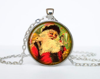 Santa Claus Jewelry Christmas Necklace Christmas Gifts New Year Pendant Christmas Jewelry, Xmax Necklace, Xmas Pendant