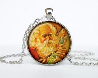 Santa pendant Jewelry Christmas Necklace Christmas Gifts New Year Pendant Christmas Jewelry, Xmax Necklace, Xmas Pendant
