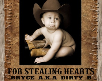 Valentine's day Cowboy Wanted Poster Photo Card  - Personalized you Print