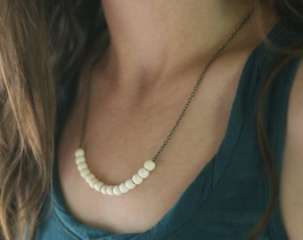 Simple Wooden Color Block Necklace -White