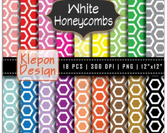 18 Honeycombs Digital Paper Pack in Bright Colors INSTANT DOWNLOAD 300 dpi png 12x12 Scrapbooking Background Beehives (kd6019)