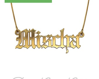 "Gothic Name Necklace in 14k Yellow Gold (0.8mm thick) - ""Mischa"" design"