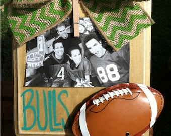 University of South Florida Football Picture Frame-Rustic-Green Chevron-USF Frame