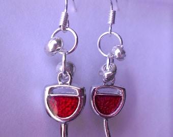 Wine Glass Earrings - Red Wine - White Wine