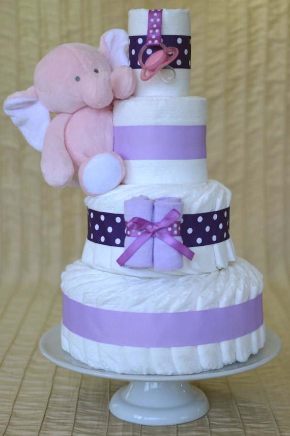 Baby Girl Diaper Cake Purple Polka Dot And Lilac With Plush