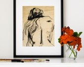 """Expressive Figure Drawing, Charcoal Sketch, Gesture, Woman's Back, Giclee Print, Eclectic, Boho Decor, Nude,  8""""X10"""" - """"Long Haired Woman"""""""