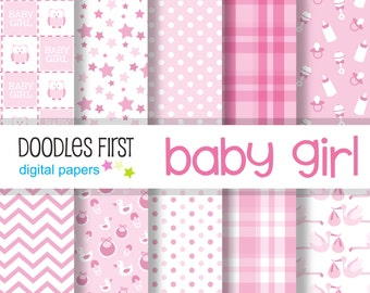 Baby Girl Digital Paper Pack Includes 10 for Scrapbooking Paper Crafts