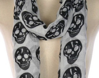 White Scarf with Black Skulls