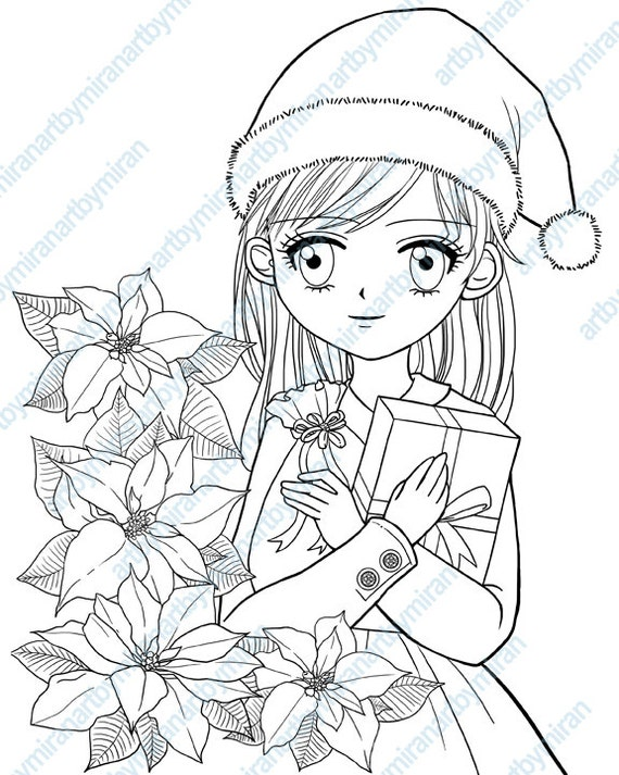 Christmas Digital Stamp Poinsettia And Girl Coloring Page Xmas Digi Kids Book Instant Download Printable Anime Manga