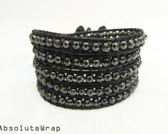 Faceted hematite wrap bracelet on soft black polyester cord, black wrap bracelet
