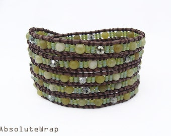 Green stone wrap bracelet with crystal and glass beads on brown polyester cord, green wrap bracelet