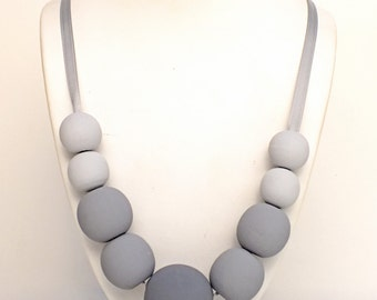 Ombre Wood Bead Necklace - Gray Wood Necklace - Wooden Necklace - Handpainted Necklace - Gray Necklace - Fifty Shades of Gray