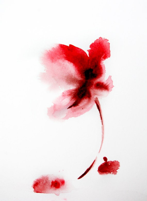 Original Watercolor Painting of Abstract Minimalist Flower.