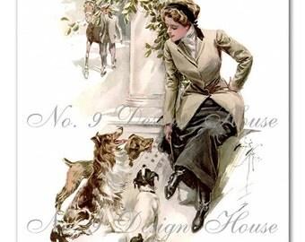 Digital Download Harrison Fisher, Vintage Image, Printable, Card Making, Altered Art, Mixed Media, Dog Digital Printable,Victorian Printable