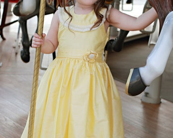 Hand smocked girls silk dupioni pageant, flower girl dress or special occasion Princess Belle dress.17253