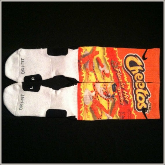 flamin hot cheetos custom nike elite crew socks by