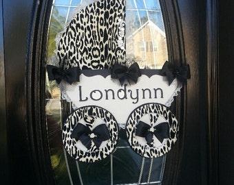 The Brittany Leopard Carriage Hanger / Baby Door Hanger / Hospital Door Hanger