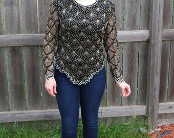 Vintage Silk Beaded Top with Pearl and Sequin Beads