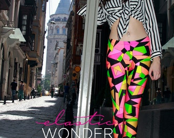 In Stock Premium Deluxe Tricot Kaleidoscope Printed Pucci-esque Spandex Nylon Leggings Tights Pink