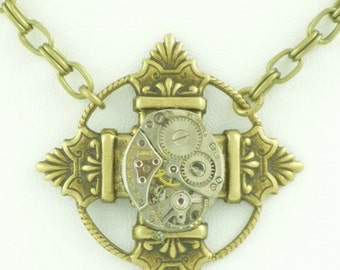 SteamPunk Necklace with Boliva Watch Movement on Pendant by VictorianFolly