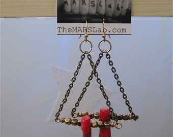 Coral and Chain Earrings