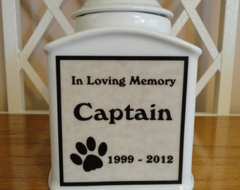 Dog Urn, Memorial PERSOANLIZED Urn, Cat, Pet, Photo Urn, Add Photo, Poem, Clipart, Name, Dates, Sentiment