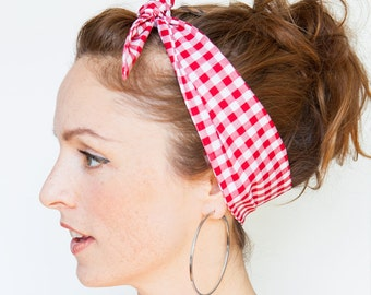 Red Gingham Headband - Red Dolly Bow - Red Pinup Bandana - Rockabilly Headband Red White Retro hair accessories - Red Hair scarf - Bandana