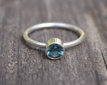 Stacking Birthstone Ring Sterling Silver 925 Handcrafted