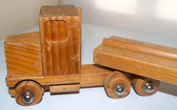 Wooden truck - cabin and flatbed trailer