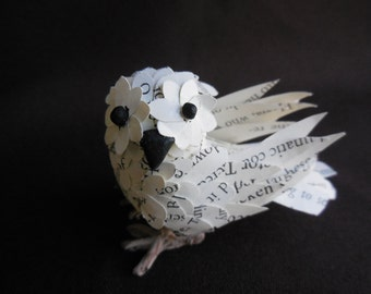 Miniture Owl made with Harry Potter book Paper (Made-to-Order)