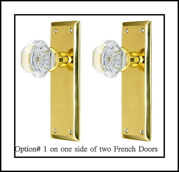 French door double dummy knob set with crystal by for French door knobs